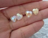 Geometric Glazed Heart Studs