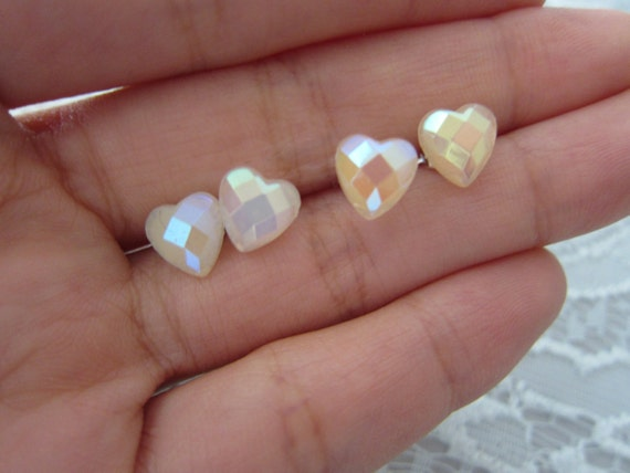 Geometric Glazed Heart Studs