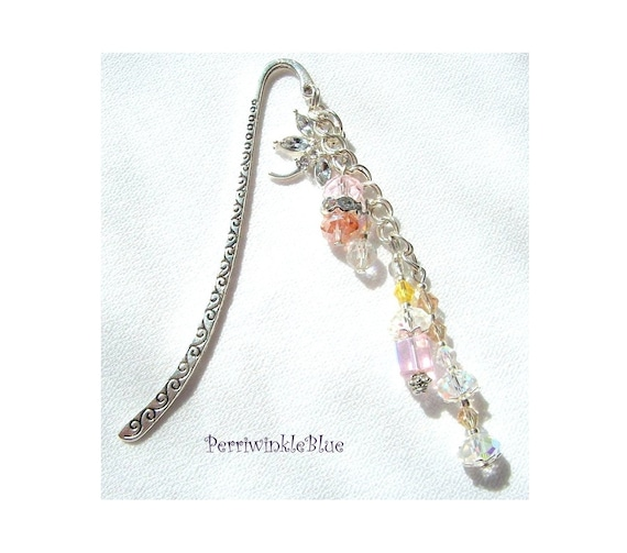 Carved Silver Bookmark with Chain, Danielle's Afternnoon, Silver and Crystals, Dragonfly Charm