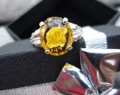 RESERVED for Hawthorne OnDisplay - Natural Amber with 3D Rose Carving Ring - Size 8 - CobbledStone