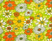 Terry cloth cotton fabric - Mod floral Green