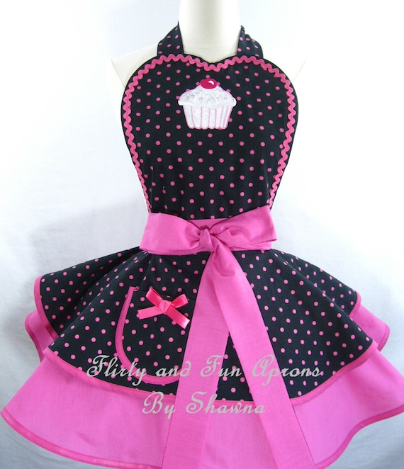 Hot Pink Polka Dot Cupcake Apron -last one in stock