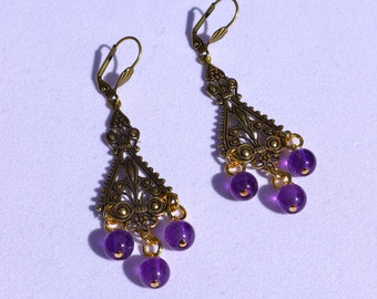 Amethyst Antique Gold Filigree Chandelier Earrings ( E926)