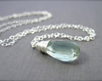 Green Amethyst Necklace in Sterling Silver, Mint Green Gemstone Necklace, Wire Wrapped, February Birthstone Necklace