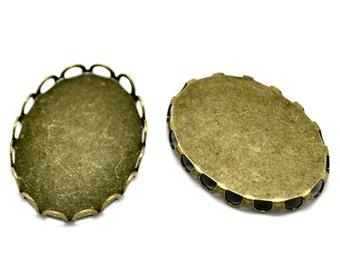 Cabochon Settings : 10 pieces Antique Bronze 18x25mm Lace Edge Cabochon Settings | Cameo Brass Bezels --  Lead & Cadmium Free 41419.H5C
