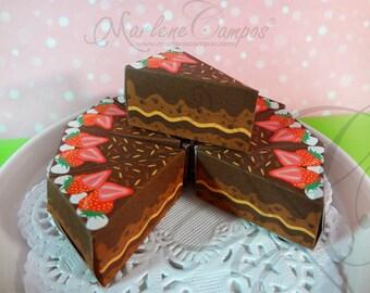 50% OFF SALE Paper cake slice favor box - Chocolate cake slice box, Printable, Birthday Party, Gift Favor Box, Party Birthday