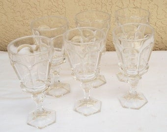 Vintage Thick Clear Glass Footed Beverage Tumblers Glasses.