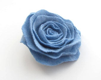 Cashmere Wool Rose Flower Brooch in Placid Blue