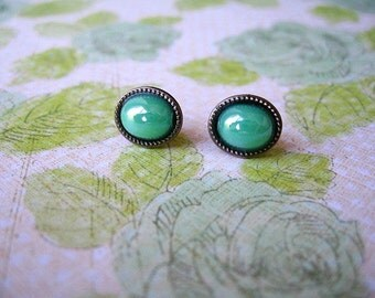 Green Bubble Earrings, Green Erings, Green Resin Earrings, Green Bubble Stud