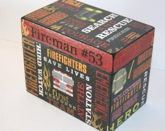 Recipe Box, Fireman Keepsake Box, 4x6 Recipe Box, Black and Red Recipe Box, Handmade 4 x 6 Wooden Recipe Box, Firetruck Keepsake Box