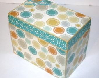 Recipe Box, Teal Recipe Box, Blue Tan Gold Gray and Orange Recipe Box, Medallion Box, Handmade 4 x 6 Wooden Recipe Box