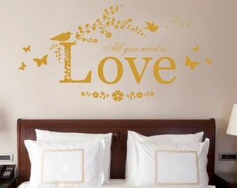 All You Need is Love Quote, Vinyl Wall Art Sticker Decal Mural, Bedroom, Lounge 70cm Wide