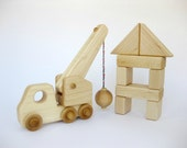 Wood Toy Wrecking Ball Truck with Blocks, natural