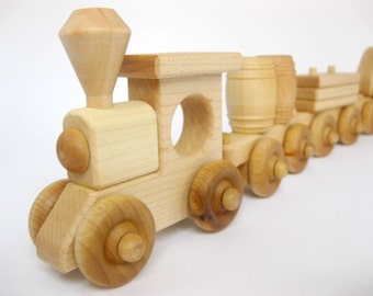 Wooden Toy Train Set 8 Cars, natural wood toy