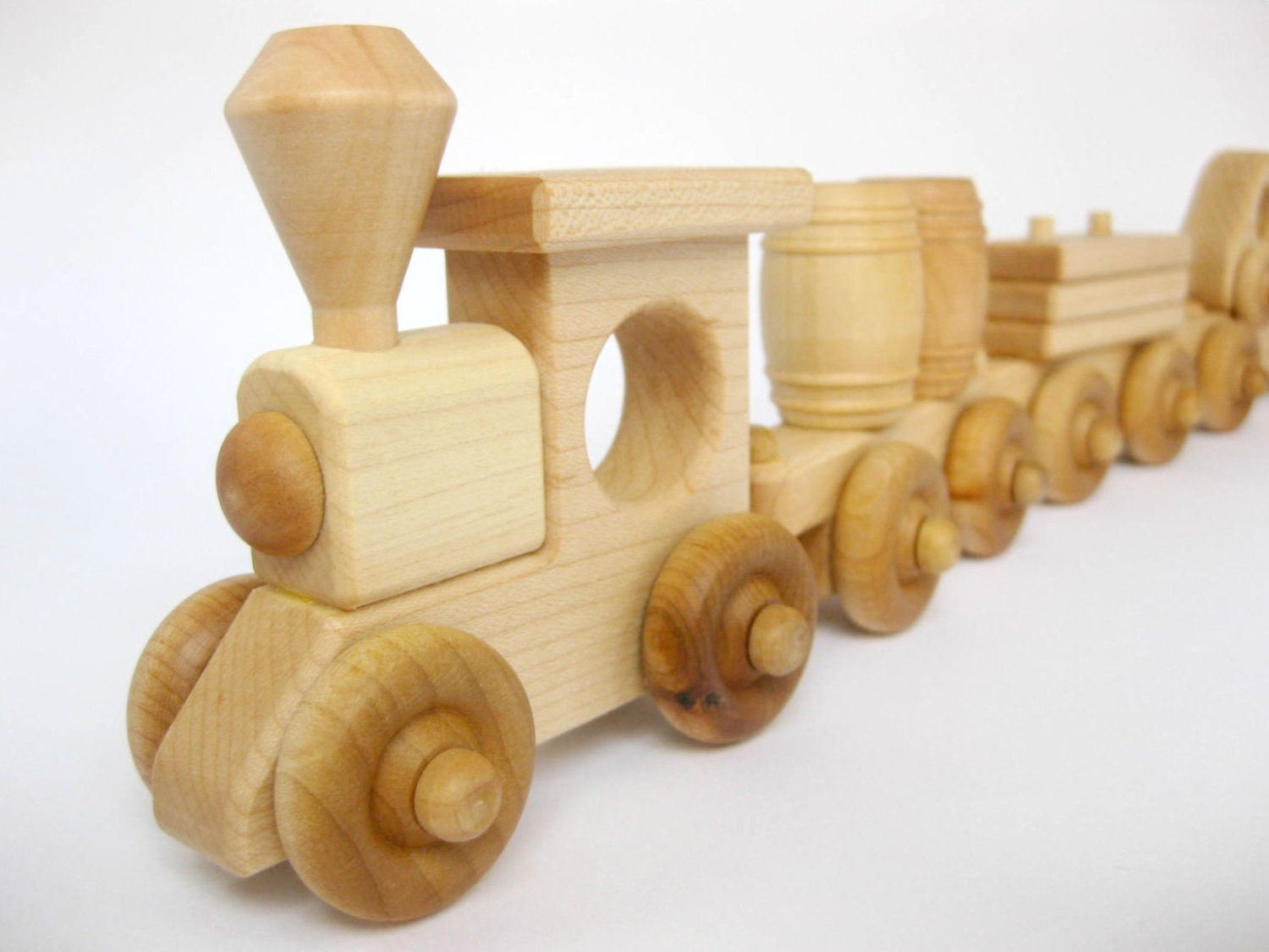 Wooden Toy Trains : Wooden toy train set cars natural wood