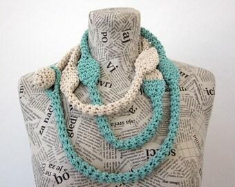 Aquamarine, ecru loop scarf in cotton