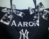 NY Yankees Navy BLue Quilted Large Tote Bag Custom Embroidery