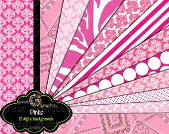 Pink Paper Digital Paper Pink Zebra Party Paper Printable Invitation Digital Paper Party Paper Instant Download