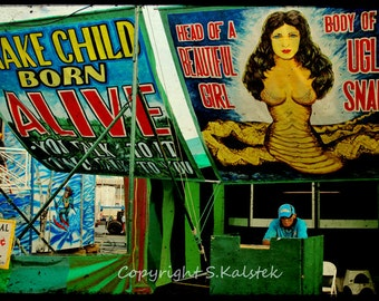 Freak Show Photograph Circus Snake Girl Side Show Dark Carnival Bright Circus Color 8x12