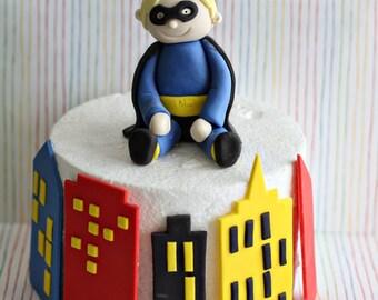 Fondant Superhero and Buildings Perfect for a Superhero Smash Cake or a Birthday Cake