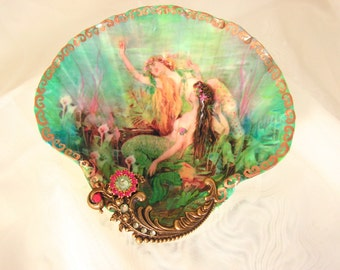 Between Two Mermaids Shell Jewelry Dish