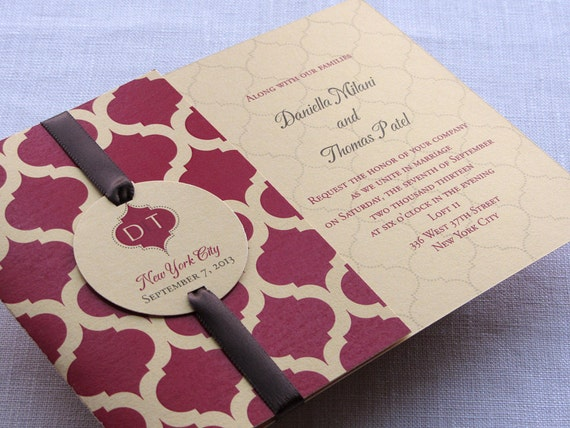 Indian Wedding Invitation Sample - Pocketfold Alternative - Monogram or Ganesh Indian Arch with Enclosures Booklet