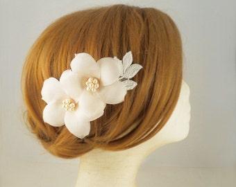 Pure Silk, Blush Pink Bridal Headpiece, Freshwater Pearl Bridal Flower Comb, Bridal Hair Accessories, Wedding Hairpiece, Wedding Headpiece