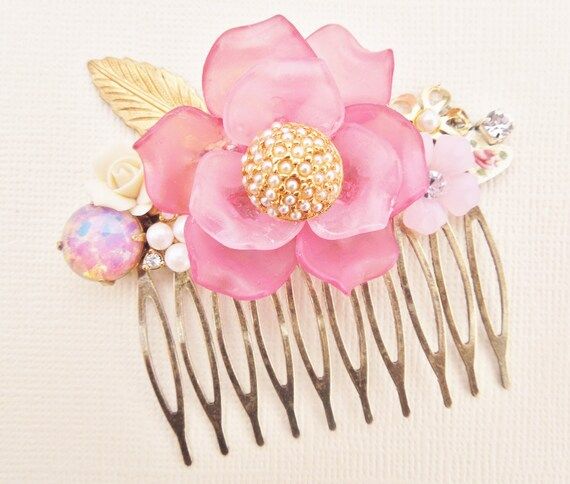 Blushing Bride.Vintage Assemblage Floral and Fire Opal Hair Comb.Repurposed Jewlery.Upcycled.Bridal.Shabby Chic.Vintage Glass Opal.OOAK
