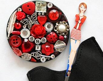 Girly Tweezer & Mosaic Mirror Set