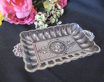 Vintage Beaded Glass Relish Pickle Dish Tray Floral Medallion Pattern