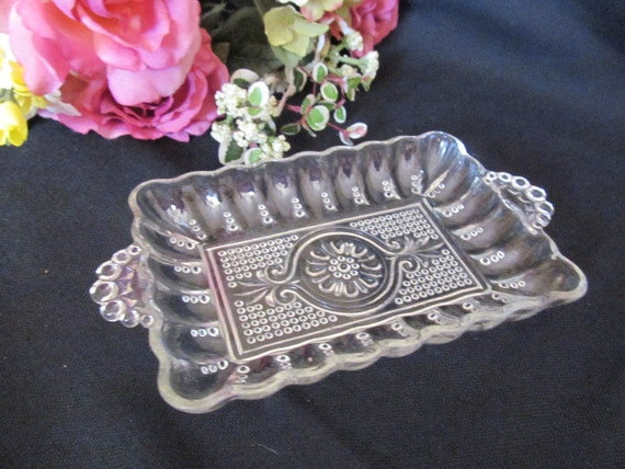 Vintage Beaded Glass Relish Pickle Dish Tray Floral Medallion