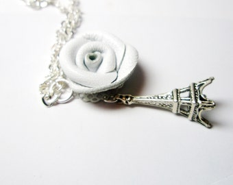 Leather rose  necklace - White rose wedding jewelry-Eiffel Tower necklace -wedding gift an idea