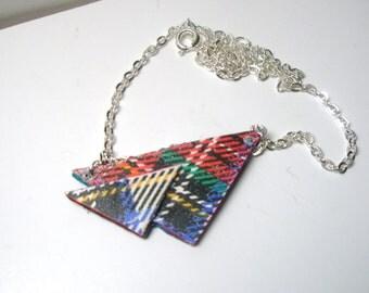 Grafic Print  Necklace / Boho Necklace ,Triangle Leather  Jewelry   Fashion Pendant