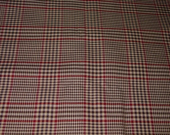 "Nice Vintage Fabric, Plaid, 4 Yards 45 1/2"" Wide"
