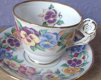 RARE Antique English tea cup and saucer set, Royal Stafford flower handle tea cup, pansies bone china tea cup