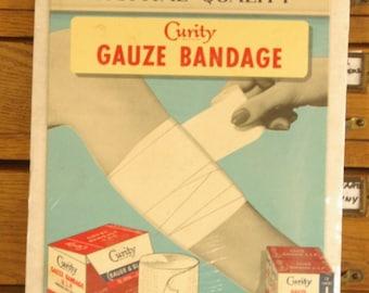 Vintage Curity Gauze Bandage Cardboard Advertising Poster