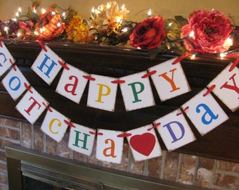 Gotcha Day Adoption Banner  Happy Gotcha Day Party Celebration Decoration Bright Colorful Primary Colors