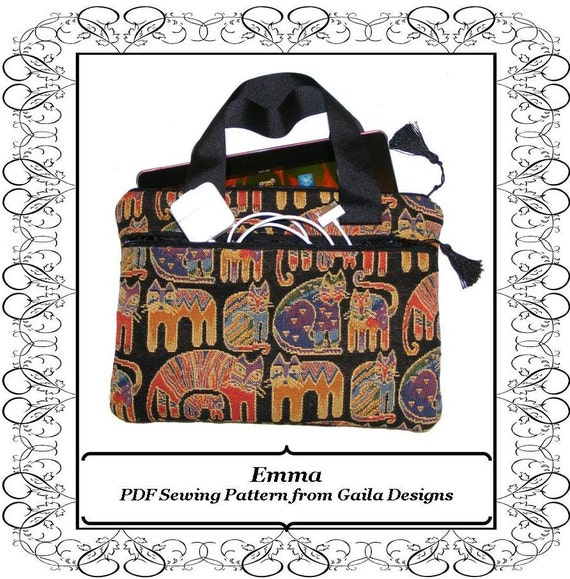 """Kindle Fire HD Cover case PDF Sewing Pattern Samsung Galaxy Tab 10"""" sleeve for full size tablets with pocket zipper handles """"Emma"""""""