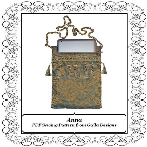 """PDF Sewing Pattern iPad 1,2,3,4, iPad Air 1,2, iPad Pro 9.7"""" tablet, Kindle Fire HD 8.9"""" cover,offset zipper, lined, padded, strap """"Anna"""""""