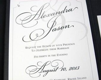 Traditional Wedding Invitation Custom Pocketfold Elegant Script Classic Black White Flourish Belly Band Wrap