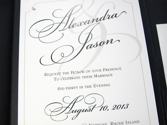 Traditional Wedding Invitation Custom Pocketfold Elegant