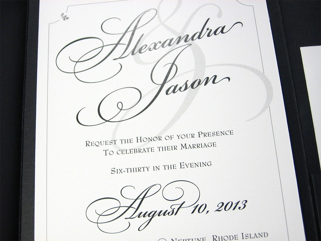 Elegant Inexpensive Wedding Invitations: Traditional Wedding Invitation Custom Pocketfold Elegant