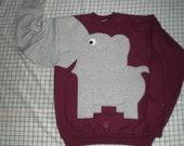 Adult size, burgundy Elephant sweatshirt, elephant shirt, trunk sweater, Maroon, Burgundy,red sweater, fun shirt, animal shirt