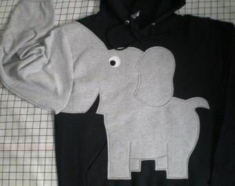 Elephant hoodie, trunk sleeve, elephant shirt, hoodie elephant sweatshirt, Black, UNISEX adult size SMALL