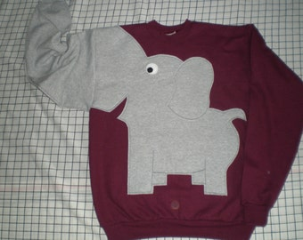 Burgundy Elephant sweatshirt, elephant shirt, trunk sweater, Maroon, Burgundy, adult sizes, red sweater, fun shirt, animal shirt
