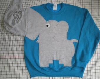 Turquoise Elephant shirt,  adult large. Blue elephant sweatshirt with trunk arm. UNISEX adult sizes. elephant jumper.