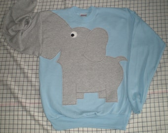 Elephant trunk sleeve sweatshirt, elephant shirt, elephant jumper, halloween costume, light blue, adult unisex sizes