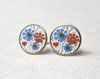 Enamel Daisy Earrings - Orange & Blue Flowers - Surgical Steel Earrings - Vintage Cabochons - Floral Earrings - Spring Fashion