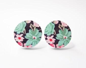 Wooden Flower Earrings - Shabby Chic Jewelry - Wood Jewelry - Turquoise & Pink Flowers - Surgical Steel Earrings - Stud Earrings