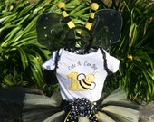 Bumble Bee Tutu Birthday Outfit - Cute As Can Bee- 4 piece set: Tutu, embroidered shirt, wings, antena